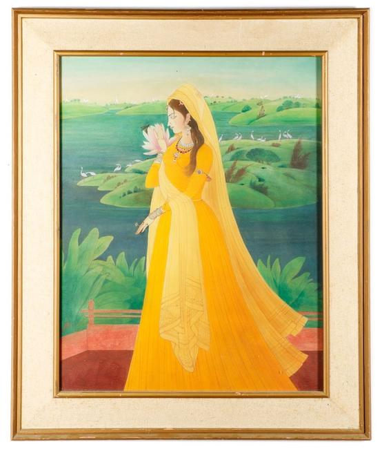 This enchanting watercolor on paper by the renowned Pakistani artist Abdur Rahman Chughtai (1897-1975) sold for $70,800 at auction.