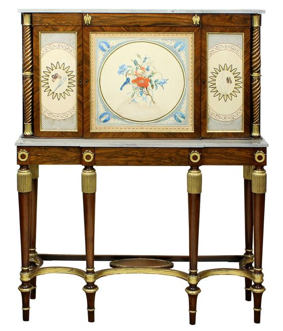 Comes from the Richard Mellon Scaife Estate of Ligonier, PA, this highlight of the furniture offerings will be this early 19th century museum quality Regency ormolu mounted rosewood, and parcel gilt side cabinet, attributed to Gillows of Lancaster, estimated at $30,000-$40,000.