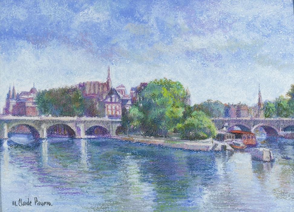 "Created by Hugues Claude Pissarro, the influence of his iconic grandfather's Impressionist ideals can be clearly recognized in this remarkable pastel entitled ""Le Pont Neuf, Paris."""