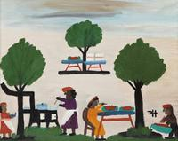 This original oil on board folk art rendering by Clementine Hunter will be sold at auction Feb.  15-16 in New Orleans.