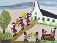 One of two paintings by the renowned folk artist Clementine Hunter to be sold April 12-13.