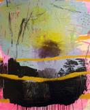 """Yellow Line Explosion"" by Stacey Elder in acrylic, latex, pouring gel medium, spray paint, ink, fabric paint, and yarn on canvas."