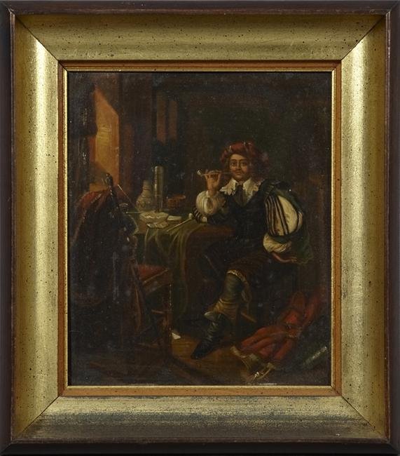 This 19th century oil on tin Continental School painting, titled Man Smoking a Pipe, framed, will be sold to the highest bidder November 22.