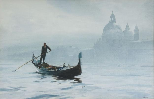 "Ogden M.  Pleissner, ""The Gondolier,"" 1968, watercolor on paper, 18 by 28 inches, framed ($35/45,000)"