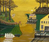 "Earl Cunningham (1893-1977), ""Life on the Waterfront"", c.  1955, Oil on fiberboard, 20 x 24 in."
