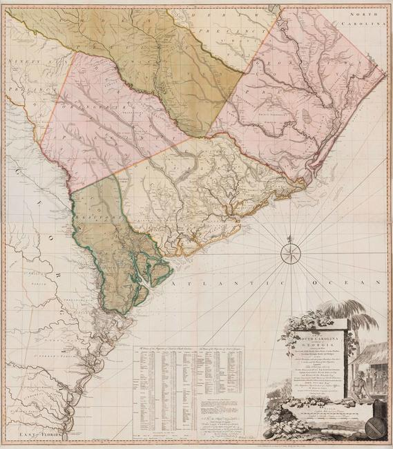 "A Map of South Carolina and a part of Georgia…, published by William Faden (1750-1836) after William Gerard De Brahm (1718-ca.  1799) after Thomas Jeffreys (ca.  1710-1771), Great Britain, England, London, 1780, black and white line engraving with period hand color on laid paper, in two sheets: top sheet H: 28"" x W: 48 ½"", bottom sheet H: 28"" x W: 48 ½"", Museum Purchase, 2019-59, A&B"