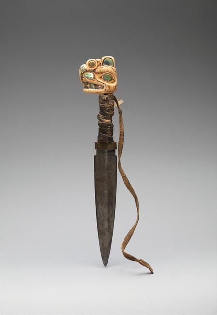 Tlingit Dagger, 19th century, United States, Alaska, Ivory, iron, shell, leather.  The Michael C.  Rockefeller Memorial Collection.