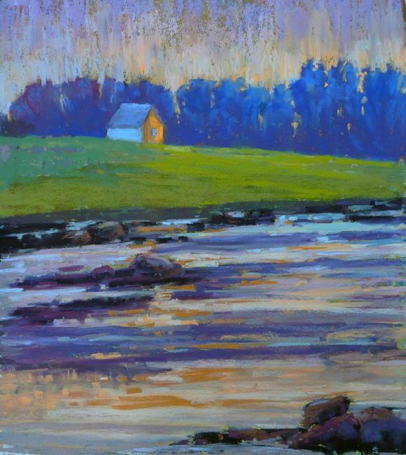 Diana Rogers, House on the Point, Evening Glow, pastel