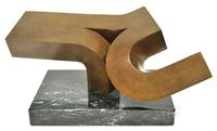 Clement Meadmore (Australian, 1929-2005) Open End, Bronze on Marble base.