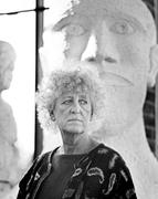 Dame Elisabeth Frink at her studio in Woolland, Dorset, March 1990.  Copyright of Anne Purkiss