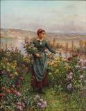 """Young Woman Picking Flowers"" by Daniel Ridgeway Knight"