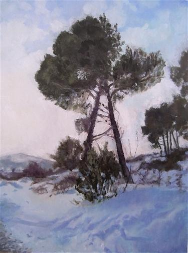 "Dario Vukorepa.  Pine Trees In the Snow.  Oil on Cardboard.  13""x10"""