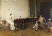 Sir William Quiller Orchardson R.A.  1832 – 1910 The Long Recital Oil on canvas, signed & dated 36 x 50 inches, Darnley Fine Art