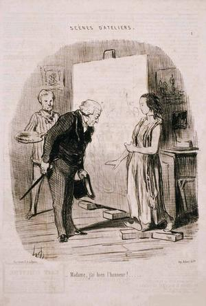 """Honoré Daumier, """"Madame, j'ai bien l'honneur!"""" (Madame, I have the honor)...  Published in Le Chairvari on January 26, 1848, Delteil 1721.  Lithograph, SBMA, Gift of Robert M.  Light."""