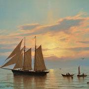 "William R.  Davis, ""Sunset on the Banks,"" oil on canvas.  For more information, visit www.curatorseye.com"