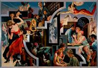 Thomas Hart Benton (American, 1889–1975) City Activities with Dance Hall, from America Today, 1930–31.  Ten panels: distemper and egg tempera on gessoed linen with oil glaze.