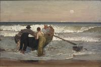"""Pushing Off the Boat at Sea Bright"" by Louis Comfort Tiffany, part of a major exhibit at the Nassau County Museum of Art."