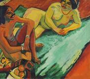 Hermann Max Pechstein (1881 Zwickau - 1955 Berlin) Weib mit Inder auf Teppich (Vorderseite), Früchte II (Rückseite).  1910.  Oil on canvas, painted on both sides.  71,5 x 82,5 cm (28,1 x 32,4 in).