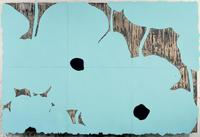 Donald Sultan, Aqua Poppies Dec 10 2002.  Enamel, flocking, tar, and spackle on tile over Masonite, 96 x 144 in.  Courtesy the artist