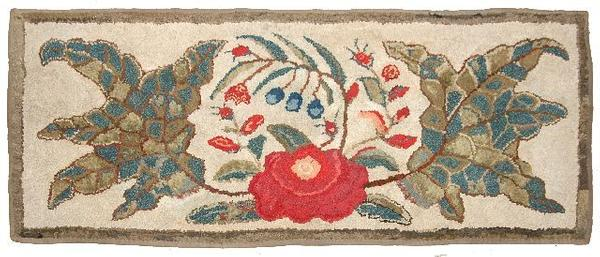 "Lot 92 An Antique American Hook Rug l: 5'10"" w: 2'8"", estimate $ 800-1,200"
