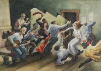 """Thomas Hart Benton's """"Swing Your Partner,' 1945.  From Questroyal Fine Art."""