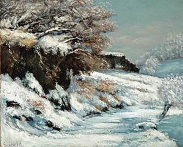 One of the most beautiful snow scenes in French art painted by the leading Realist artist Gustave Courbet.  Effet de Neige, painted by Courbet in his native Ornans region during the uncommonly cold and snowy winters of 1866-68, uses an aggressive painting technique and an unmistakable color scheme.  This superb oil on canvas work will be taken to TEFAF 2012 by French & Company of New York..