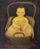 Prior-Hamblin School, Baby with Cherries in Cradle, circa 1835-1845.  Estimate: $25,000 - $50,000.