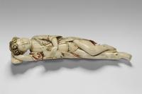 Christ Child as the Good Shepherd, 17th century.  Artist/maker unknown, Ceylon-Portuguese.  Ivory with polychromy, 2 1/4 x 11 x 2 3/4 inches (5.7 x 27.9 x 7 cm).  Roberta and Richard Huber Collection.