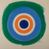 "Kenneth Noland, Blue Painted Blue, 1959, Acrylic on Canvas, 34 x 34"" sold for $350,000 from Bridgette Mayer Gallery."