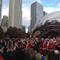 "View of Santas at ""Cloud Gate,"" the public sculpture by Anish Kapoor, in Chicago, Dec.  2014."