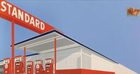 Edward Ruscha, Standard Station with Ten-Cent Western Being Torn in Half, 1964.  Oil on canvas, 65 x 121 1/2 inches.  Extended loan, private collection.  Courtesy of the artist.