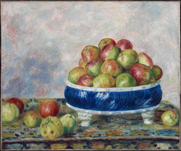 Apples in a Dish, 1883, by Pierre-Auguste Renoir Oil on canvas, 21 1/4 x 25 5/8 in Sterling and Francine Clark Art Institute, Williamstown, Massachusetts