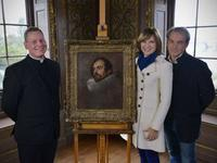 Father Jamie McLeod, Fiona Bruce and Philip Mould with the newly discovered van Dyck painting.