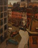 Original oil on board painting by John Sloan (Am., 1871-1951), of a street scene with cars and buildings (est.  $80,000-$100,000).