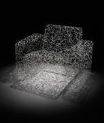 Brent Kee Young Matrix Series: Modern Chair, 2011 Flame worked Pyrex glass h 35, w 30, d 26 in.  Riley Galleries