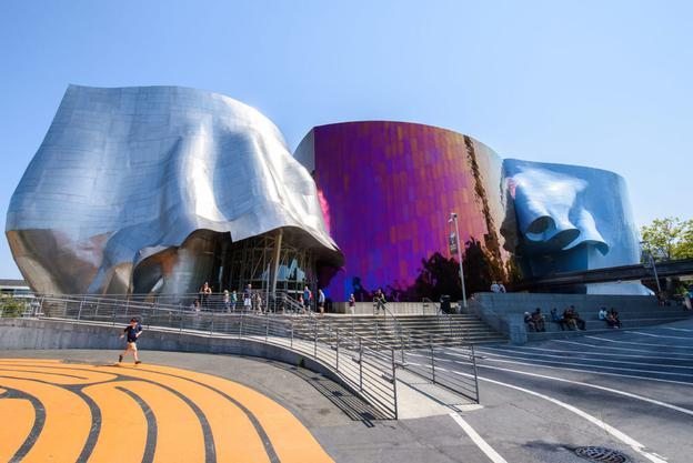 MoPOP is housed in a 140,000 square foot Frank O.  Gehry-designed building.