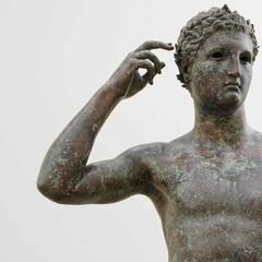 Detail of the Getty Bronze, or Victorious Youth, made by Lysippos between 300 and 100 BC.  Greece.