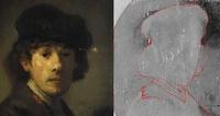 Details of a known Rembrandt self-portrait (Metropolitan Museum of Art, NY) and an x-ray of the new discovery by Dutch art historian Ernst van de Wetering.