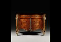 An important George III gilt-lacquered brass mounted fustic, rosewood, tulipwood and marquetry commode, almost certainly by Thomas Chippendale, circa 1770, sold for £3,793,250 ($5,980,438) at Sotheby's.