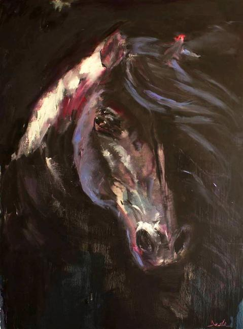 Dede Schumacher, Black Stallion, Oil on Canvas, 48'' x 36''