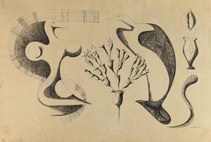 Dorothy Dehner, The Courtship, 1949, ink on paper