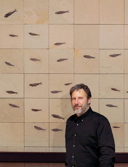 Douglas Miller stands in front of a wall mural composed of fish fossils.