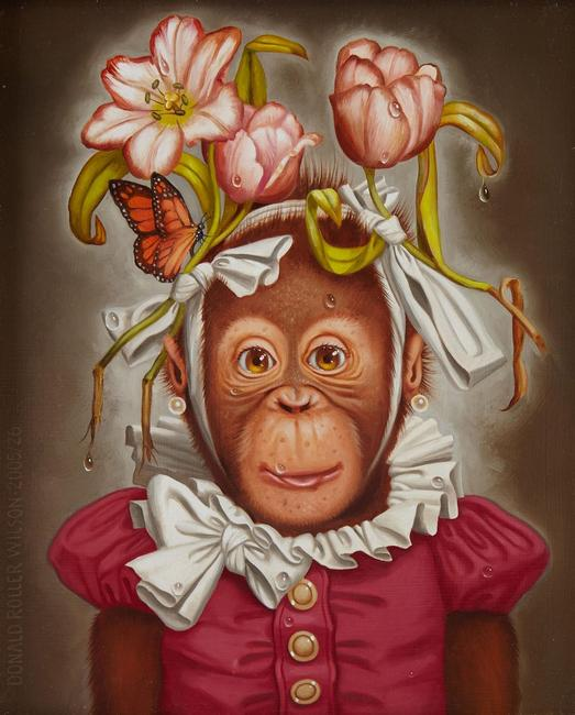 Oil on board painting by Donald Roller Wilson (Arkansas, b.  1938), titled Cookie (2005), a whimsical depiction of a chimpanzee dressed in a clown costume (est.  $10,000-$15,000).