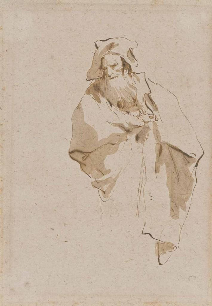 "Giovanni Battista Tiepolo, ""Study of an Old Man with a Beard,"" n.d.  Pen and ink with brown wash on paper.  Lent by the Joseph B.  and Ann S.  Koepfli Trust."