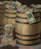 Victor Dubreuil, Barrels of Money, oil on canvas, 24 x 20 in.