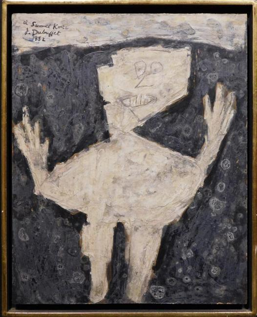 Framed oil on Masonite painting attributed to the French painter Jean Dubuffet (1901-1985), signed and dated 1952, with an inscription (est.  $80,000-$120,000).