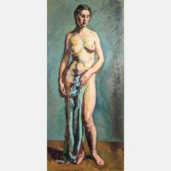 "Oil on canvas nude rendering by the Scottish painter Duncan Grant (1885-1978), signed and dated (""32"") lower right and measuring 47 inches by 22 inches (est.  $30,000-$50,000)."