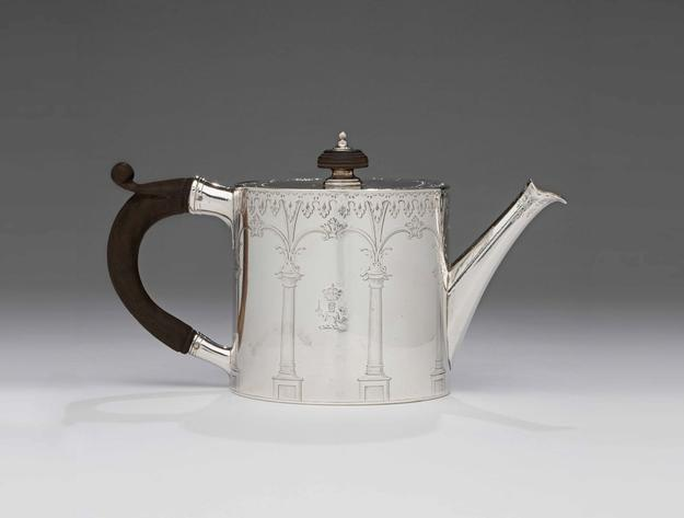 Teapot, 1771-1772, marked by Andrew Fogelberg, Swedish/English, sterling silver and wood, London, gift of Angus Sladen of Hampshire, England, a descendent of the fourth earl of Dunmore