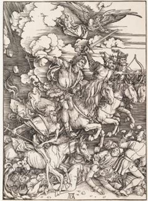Albrecht Dürer (1471–1528), Germany, The Four Horsemen for The Apocalypse, circa 1497–98, woodcut (proof before text), Bequest of Herbert Greer French, 1943.212