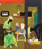 Romare Bearden, Evening, 1985, Collage on Board, 14 x 12 inches